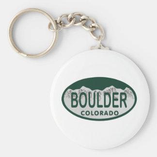 Boulder license oval basic round button key ring