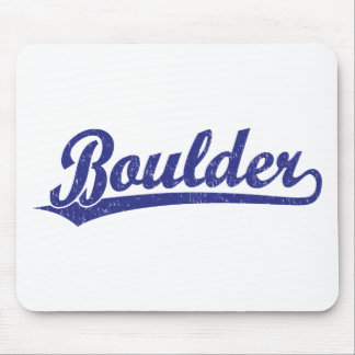 Boulder script logo in blue mousepad