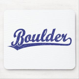 Boulder script logo in blue mousepads