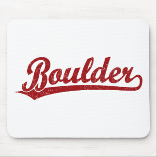 Boulder script logo in red mouse pad