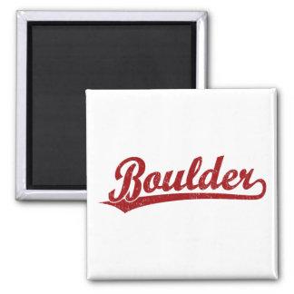 Boulder script logo in red square magnet