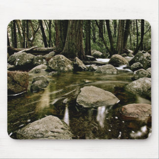 BOULDERS IN YOSEMITE CREEK WITH LONG EXPOSURE MOUSE PAD