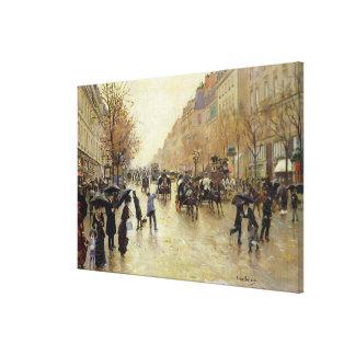 Boulevard Poissonniere in the Rain, c.1885 Canvas Print