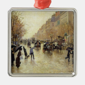 Boulevard Poissonniere in the Rain, c.1885 Christmas Ornament