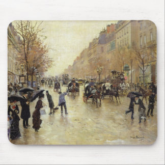 Boulevard Poissonniere in the Rain, c.1885 Mouse Mat