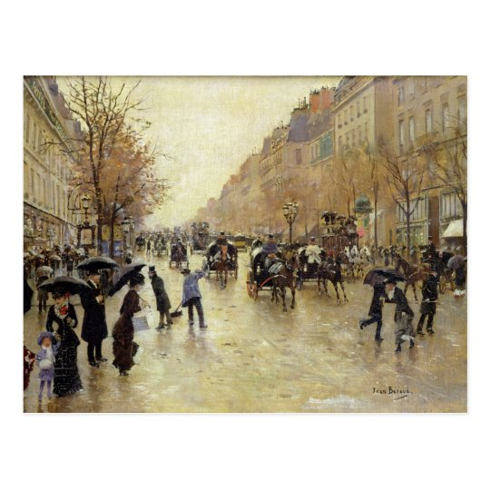 Boulevard Poissonniere in the Rain, c.1885 Postcard