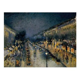 Boulevarde Montmartre at Night  ~ Camille Pissarro Postcard