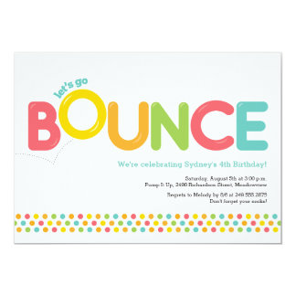 Bounce House Birthday Invitation Pink & Aqua