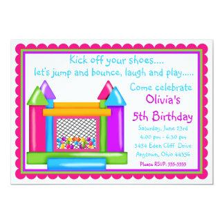 Bounce House Birthday Invitations- Girl Colors 13 Cm X 18 Cm Invitation Card