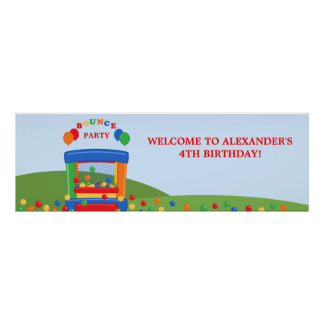 Bounce House Birthday Party Banner Posters