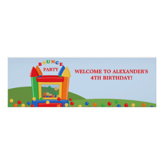 Bounce House Birthday Party Banner Print