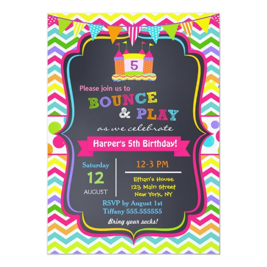 Bounce House Birthday Party Invitations Girl