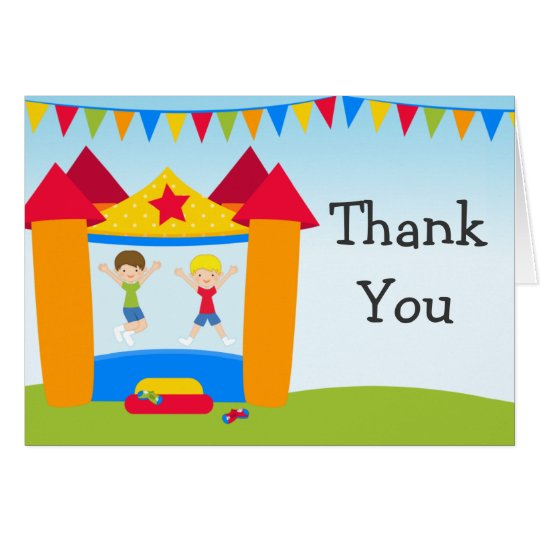 Bounce House Birthday Party Thank You Card
