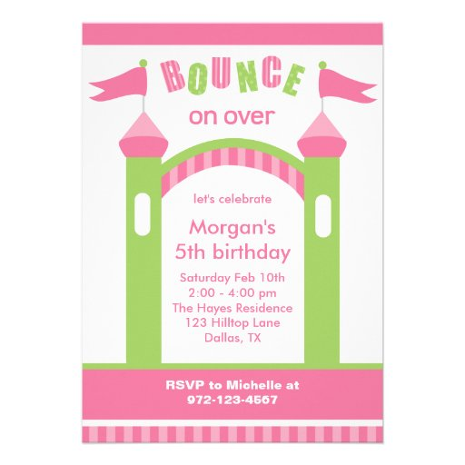 Bounce House Party Invitations Announcement