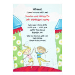 Bounce House Party Invitations Green Boy and Girl