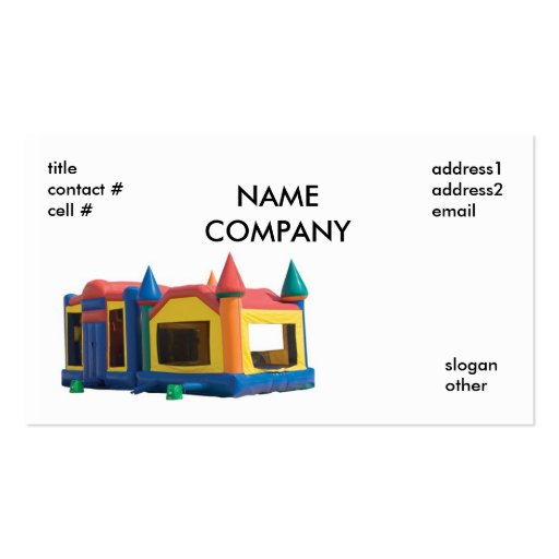 bounce house rental, NAMECOMPANY, titlecontact ... Business Card