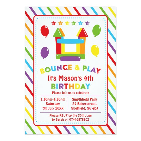 Bounce house themed birthday party invitation