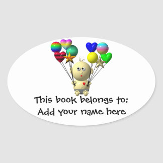 BOUNCING BABY BOY WITH 10 BALLOONS OVAL STICKER