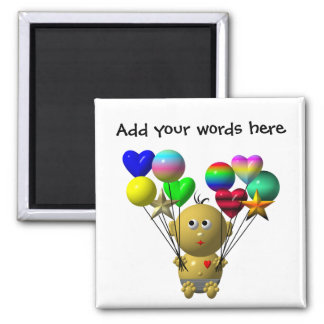 BOUNCING BABY BOY WITH 10 BALLOONS SQUARE MAGNET