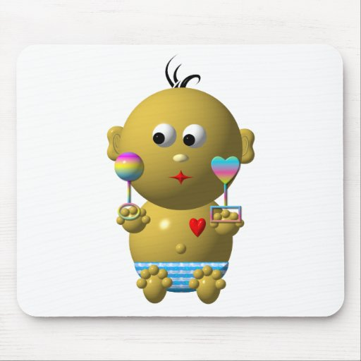 Bouncing baby boy with 2 rattles mouse pad