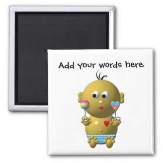 Bouncing baby boy with 2 rattles square magnet