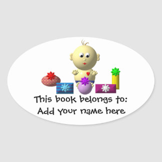 BOUNCING BABY BOY WITH 5 PRESENTS OVAL STICKER