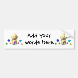 BOUNCING BABY BOY WITH 7 FLOWERS BUMPER STICKER