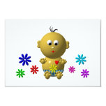 BOUNCING BABY BOY WITH 7 FLOWERS 9 CM X 13 CM INVITATION CARD