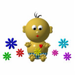 BOUNCING BABY BOY WITH 7 FLOWERS PHOTO CUTOUT