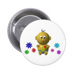 BOUNCING BABY BOY WITH 7 FLOWERS PINBACK BUTTON