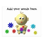 BOUNCING BABY BOY WITH 7 FLOWERS POST CARD