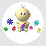 BOUNCING BABY BOY WITH 7 FLOWERS ROUND STICKER