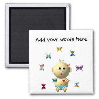 BOUNCING BABY BOY WITH 9 BUTTERFLIES SQUARE MAGNET