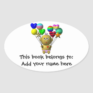 BOUNCING BABY GIRL WITH 10 BALLOONS OVAL STICKER
