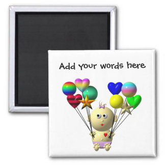 BOUNCING BABY GIRL WITH 10 BALLOONS SQUARE MAGNET