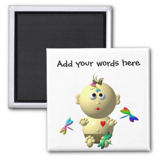 BOUNCING BABY GIRL WITH 4 DRAGONFLIES SQUARE MAGNET
