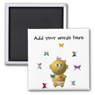 BOUNCING BABY GIRL WITH 9 BUTTERFLIES SQUARE MAGNET