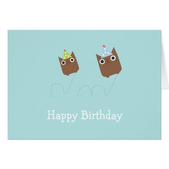 Bouncing Owls Birthday Card