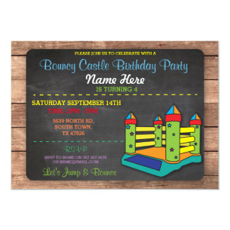 Bouncy Castle Party Jump Kids Birthday Invitation