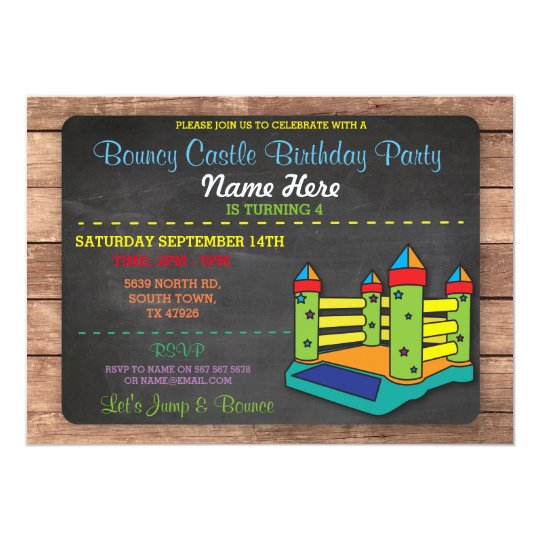 Bouncy Castle Party Jump Kids Birthday Invitation