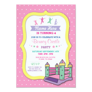 Bouncy Castle Party Pink Kids Birthday Invitation