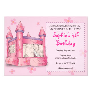 Bouncy Fun - for Girls Personalized Invite