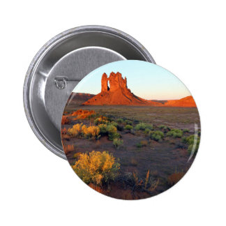 Boundary Butte Arch with sunrise, Navajo 6 Cm Round Badge