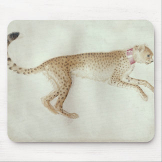 Bounding cheetah with a red collar mouse mat