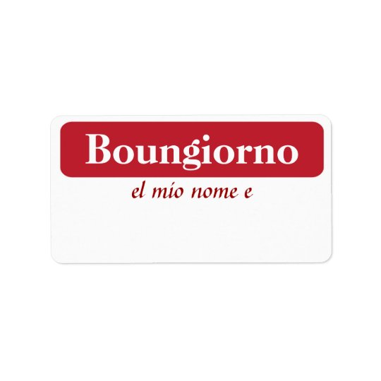 Boungiorno My Name Is...Tags Address Label