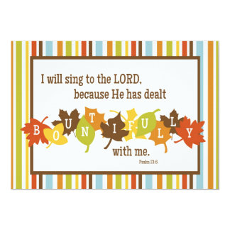 """BOUNTIFUL 2-Sided Scripture Thanksgiving Card 5"""" X 7"""" Invitation Card"""