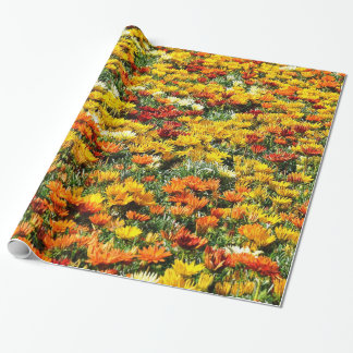Bountiful Field of Gold and Rust Chrysanthemums Wrapping Paper