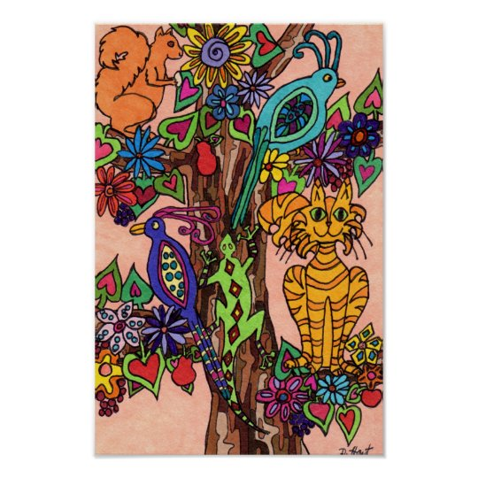 Bountiful Tree of Life Folk Art Poster