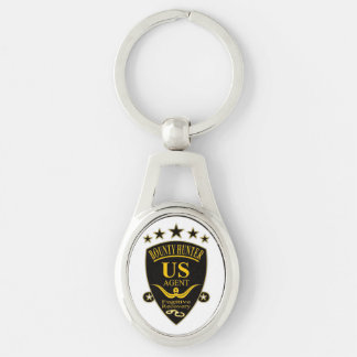 Bounty Hunter Agent Keychain Silver-Colored Oval Key Ring