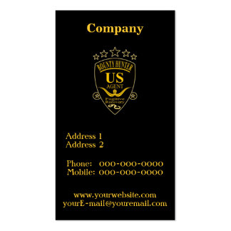 Bounty Hunter Agent Pack Of Standard Business Cards